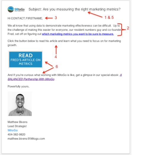 example email in our marketing automation series